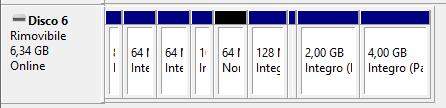 Lista delle partizioni, pendrive usb da 2Gb