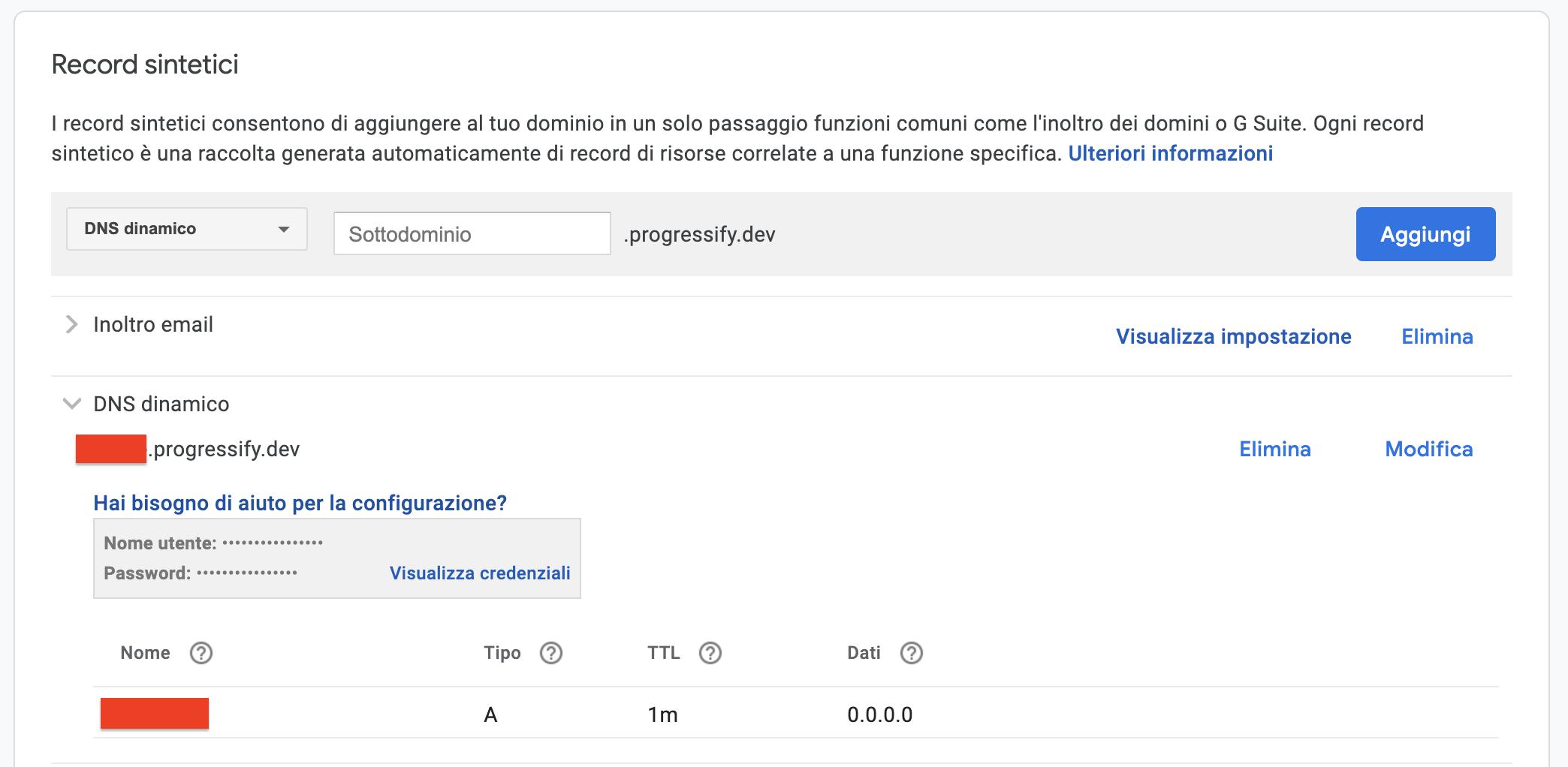 Creazione sottodominio DDNS su Google Domains