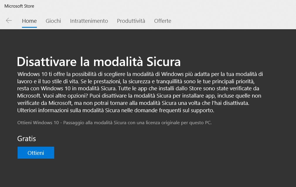 Disattivare modalità S dallo Store Microsoft